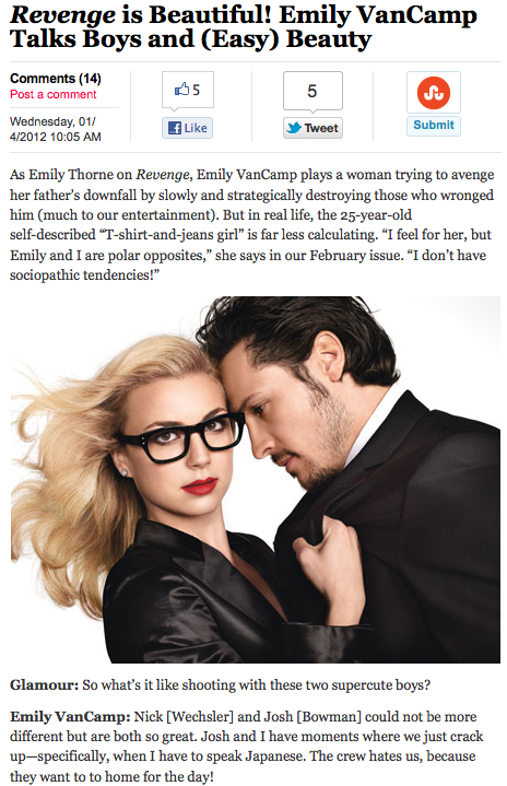 Revenge is Beautiful! – Emily VanCamp & Nick Wechsler ...