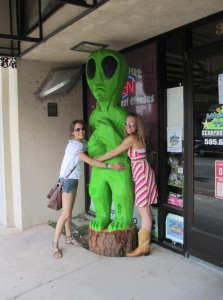 Hugging an alien