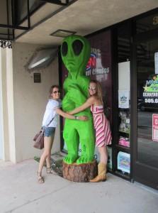 Hugging an alien